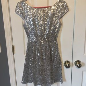 Silver Sherri Hill Sequin Homecoming/Prom Dress